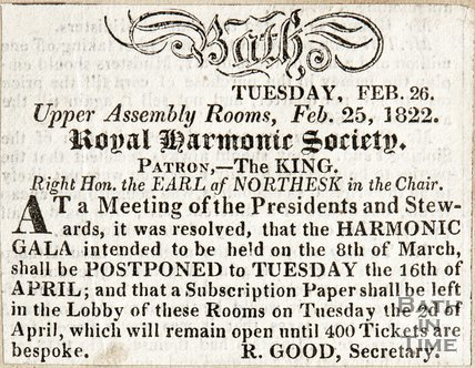 Royal Harmonic Society, Patron The King, Right Hon. The Earl of Northesk. In the chair. February 25th 1822