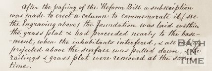 Transcript of Article: Reform Bill and Demolition of column in Laura Place c.1809