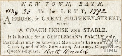 Advertisement House in Great Pulteney Street to be let. August 25th 1792