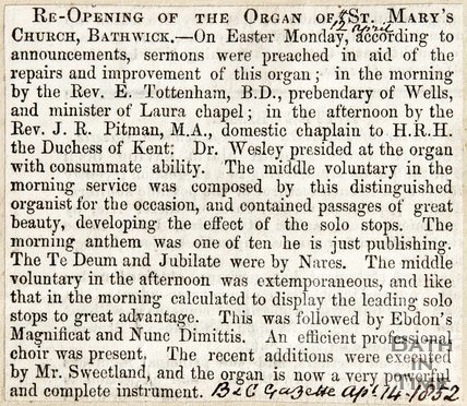 Re-opening of the Organ of St. Marys Church Bathwick April 14th 1852