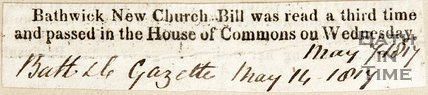 Bathwick New Church Bill was read a third time and passed in the House of Commons on Wednesday. May 14th 1817