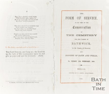 Booklet The Form of Service to be used at the consecration of the cemetery for the parish of Bathwick, in the county of Somerset and Diocese of Bath and Wells. February 15th 1856