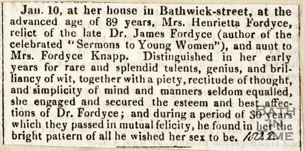 Obituary of Mrs Henrietta Fordyce, relict of the late Dr. James Fordyce, 1822