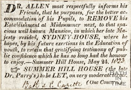 Announcing Dr. Allen's removal of his establishment at Midsomer to Sydney House (Queens House) (93 Sydney Place) 1823