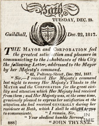 Letter addressed to the Mayor from her Majesty's command December 22nd 1817