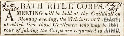 Advertisement Bath Rifle Corps. July 15th 1815