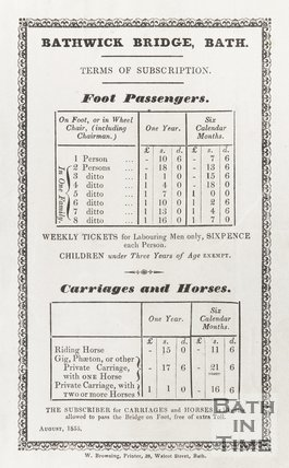 Bathwick Bridge Information on Tolls August 1855