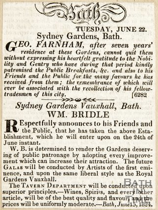 Geo. Farnham after 7 years residence at the gardens has quit, Wm. Bridle has taken up establishment from June 24th. June 22nd 1824