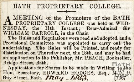 Announcing Meeting that will be held Rear-Admiral Sir William Carroll will chair, Bath Proprietary College May 1853