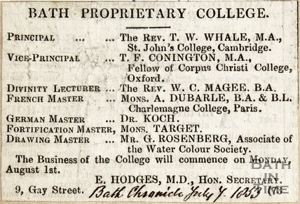 Bath Proprietary College, list of teachers July 7th 1853