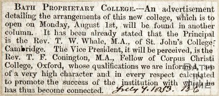 Bath Proprietary College, advertisement detailing new college arrangements in another column July 7th 1853