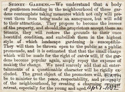 Restoration of Sydney Gardens April 1st 1852