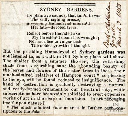 Sydney Gardens March 1st 1853