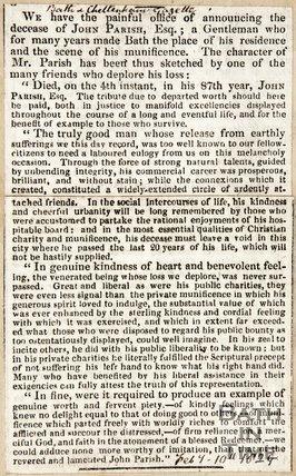 Obituary John Parish February 10th 1829
