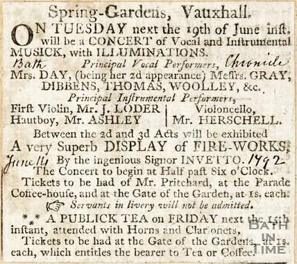 Spring Gardens Vauxhall concert announcement, June 14th 1792