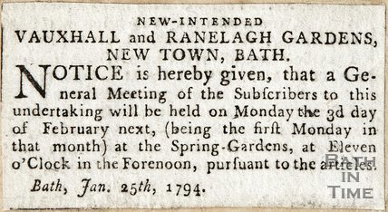 New Intended Vauxhall and Ranelagh Gardens, New Town Bath January 25th 1794