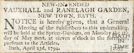 New Intended Vauxhall and Ranelagh Gardens, New Town Bath April 23rd 1794