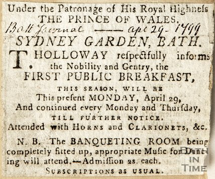 Under the patronage of His Royal Highness the Prince of Wales, Sydney Garden Bath April 29th 1799