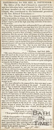 Testimonial to the Revd. E Tottenham, April 9th 1835