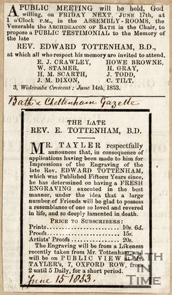 Public Meeting will be held in the memory of Revd. Edward Tottenham, June 15th 1854