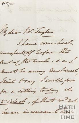 Letter to Mr Taylor from Revd. E. Tottenham
