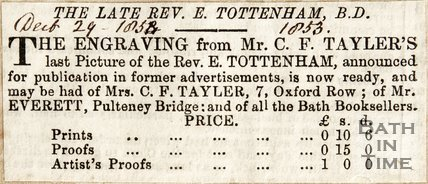 Announcing Engravings from C.F. Taylor of Revd. E. Tottenham now available. December 29th 1853