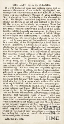 Obituary Revd. E. Mangin October 31st 1852