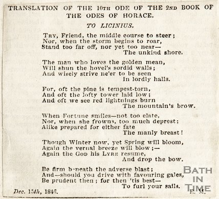 Translation of the 10th Ode of the Second Book of the Odes of Horace, December 15th 1846