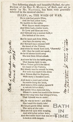 Ellen or The Woes of War' ballad by E. Mangin, music by Mr Manners, March 15th 1825