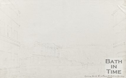 Pencil sketch of Sydney Hotel and Entrance from Sydney Gardens 1804