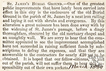 St. James Burial Ground, Comments on improvements made. March 1860