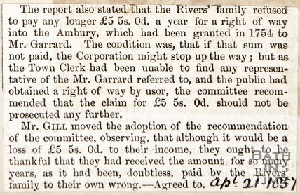 Rivers Family refusal to pay for right of way into Ambury. April 21st 1857