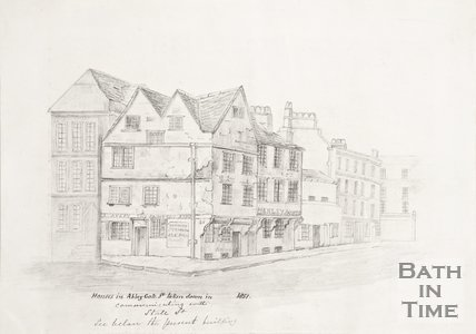Pencil Drawing of houses in Abbey Gate Street, taken down in 1851