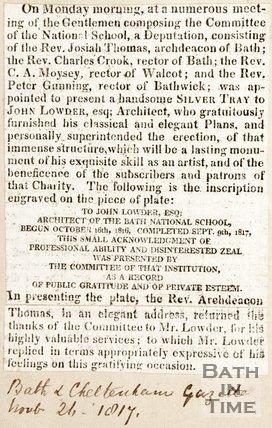 Meeting of Committee of National School November 26th 1817