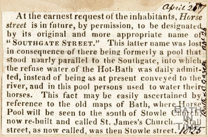 Street known as Horse Street to be changed by name into Southgate Street. April 1825
