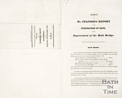 Copy of Mr Thomas Telfords Report to the Corporation of Bath on the improvement of the Bath Bridge August 16th 1823