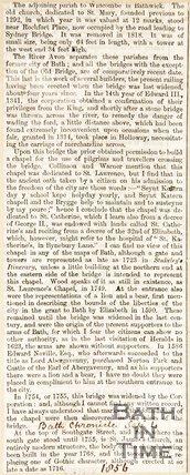 Bathwick Parish and History, St. Laurence Bridge, September 4th 1856