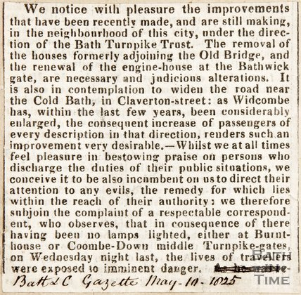 Newspaper article on the positive improvements to Old Bridge area, 10 May 1825.