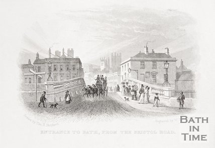 Entrance to Bath from the Bristol Road, 1828