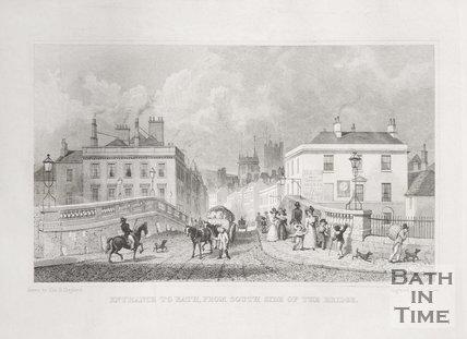 Entrance to Bath from South side of Bath Bridge, 1829