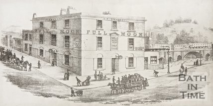 Sketch of Southgate Street showing Full Moon pub, horse and railway track