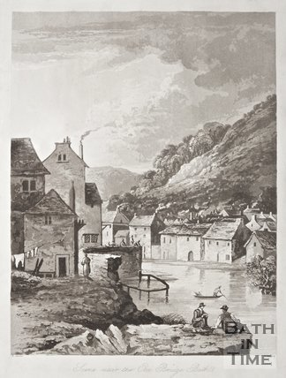 Print scene near Old Bridge Bath by B. Barker