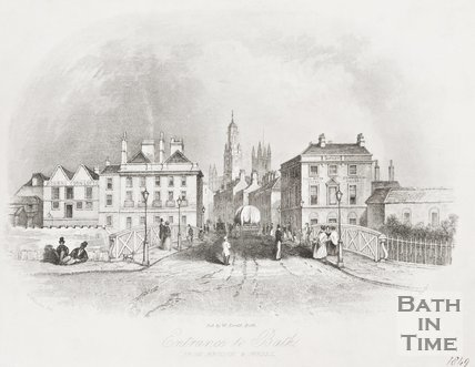Engraving of Entrance to Bath from Bristol altered to show St James Church tower, 1848.