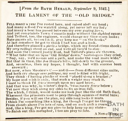 Bath Herald artifice . The Lament of the Old Bridge, 1842.