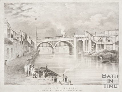 Engraving Skew Bridge, Great Western Railway Station, Bath, 1840