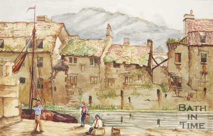 Watercolour of the southside of the Old Bridge by E.G. Sansdown, 1854