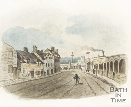 Watercolour of the southside of the Old Bridge, 1854