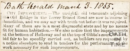 Bath Herald artifice. City Improvements March 3rd 1855.