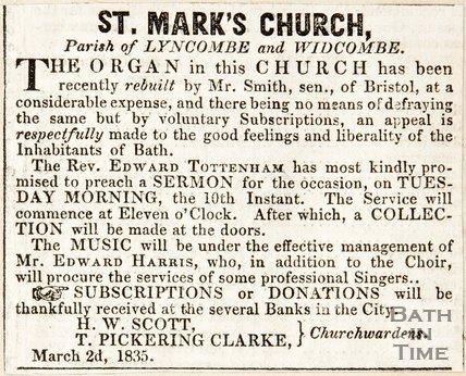 Bath Chronicle article. St Marks Church, 1835