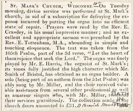 Newspaper cutting. St Marks Church. Widcombe. March 12 1835.